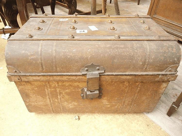 A tin trunk