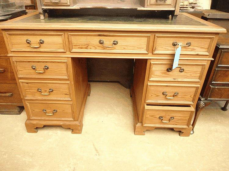 Geo III style pine pedestal desk