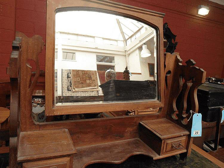 An Edwardian walnut dressing table mirror a/f