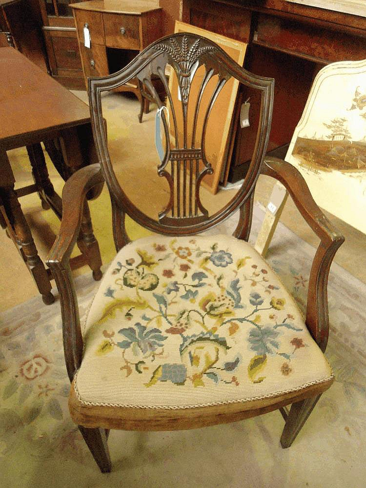 C19 mahogany open armchair with upholstered