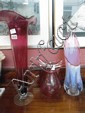 3 large art glass vases