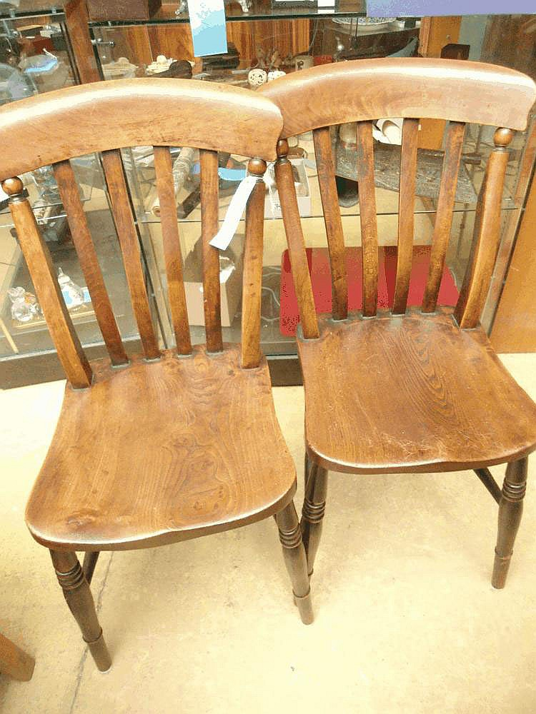 A set of 4 late 19thC beech splat back chairs