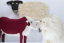 Three folk art animal figures
