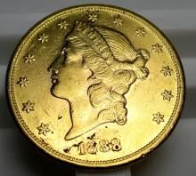 1888 S $ 20 Gold Liberty Double Eagle