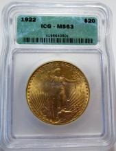 1922 ICG MS 62 $ 20 Gold Double Eagle