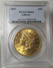 1907 MS 62 PCGS $ 20 Gold Liberty