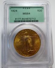 1924 MS 64 Old Green Rattler PCGS $20 Saint