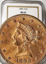 1893 $ 10 Gold Liberty MS 62 NGC