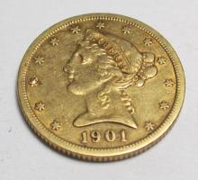 1901 s $ 5 Gold Liberty Coin Better Date