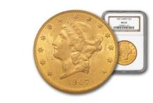 1907 MS 63 NGC or PCGS $ 20 Gold Liberty