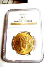 Better Date 1877 S AU 55 $ 20 Gold Liberty NGC