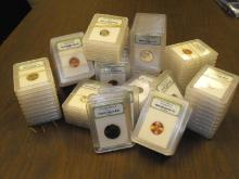 100 Slabbed MS 60-BU INB Graded Coins