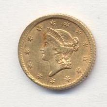 1850-70's US Gold Minted $ 1 Coin
