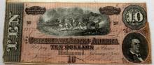 1864 AU/CU $ 10 Confederate Currency