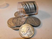 Roll of (20) Walking Liberty Half Dollars 90% -