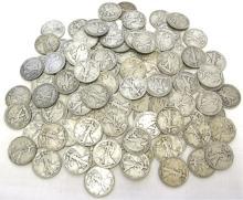 (50) Walking Liberty Half Dollars - 90% Silver