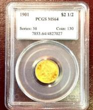 1901 MS 64 $ 2.5 Gold Liberty PCGS