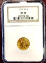 1902 MS 64 $ 2.5 Gold Liberty NGC