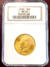 1932 MS 62 $ 10 Gold Inidna NGC