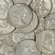 (20) Franklin Half Dollars
