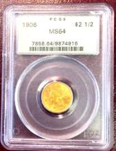 1906 MS 64 $ 2.5 Gold Liberty PCGS