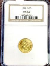 1907 MS 64 $ 2.5 Gold Liberty NGC- Less POP