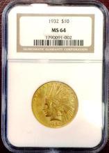 1932 MS 64 $ 10 Gold Indian NICE HIGHER GRADE NGC