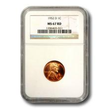 1952 D MS 67 RD Lincoln Wheat Cent NGC