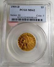 1909 D MS 62 $ 5 Gold Indian PCGS