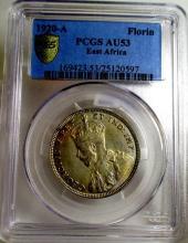 1920 A AU 53 EAST AFRICAN FLORIN PCGS