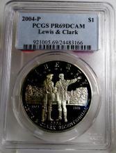 2004 P PR 69DCAM Lewis & Clark PCGS $ 1 Silver