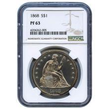 1868 s PROOF 63 NGC Seated Liberty Dollar