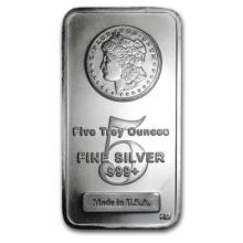 5 Oz. Morgan Design Silver Bullion Bar