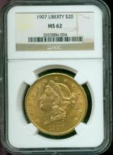 1907 MS 62 $ 20 Gold Liberty NGC