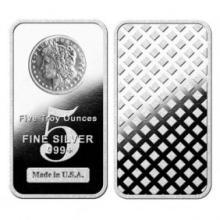 5 Oz. Silver Bullion Bar - Morgan Design