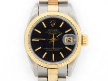 PRE OWNED LADIES TWO-TONE ROLEX DATEJUST WITH A BLACK DIAL 69173
