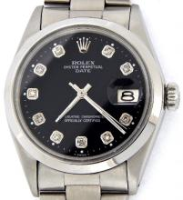 PRE OWNED MENS STAINLESS STEEL ROLEX DATE WITH A BLACK DIAL 1500