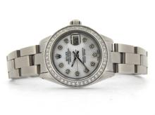 PRE OWNED LADIES STAINLESS STEEL ROLEX DATEJUST WITH A WHITE DIAL 6916