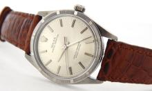 PRE OWNED MENS STAINLESS STEEL ROLEX OYSTER PERPETUAL WITH A SILVER DIAL 1007