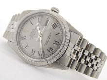 PRE OWNED MENS STAINLESS STEEL ROLEX DATEJUST WITH A GRAY DIAL 16030