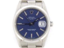 PRE OWNED MENS STAINLESS STEEL ROLEX DATE WITH A BLUE DIAL 15200