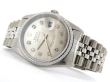 PRE OWNED MENS STAINLESS STEEL ROLEX DATEJUST WITH A SILVER DIAL 16220