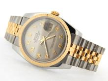 PRE OWNED MENS TWO-TONE ROLEX DATEJUST WITH A SLATE DIAL 116233
