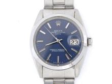 PRE OWNED MENS STAINLESS STEEL ROLEX DATE WITH A BLUE DIAL 1500
