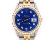 PRE OWNED MENS TWO-TONE ROLEX DATEJUST WITH A BLUE DIAL 16233