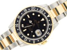 PRE OWNED MENS TWO-TONE ROLEX GMT-MASTER WITH A BLACK DIAL 16713