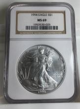 1994 MS 69 US Silver Eagle NGC Graded