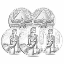 (5) 2 oz. Heavy Relief CLEOPATRA Silver Rounds