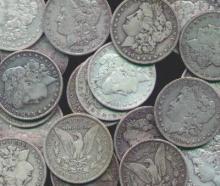 (20) Morgan Silver dollars from cache - random