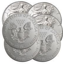 (6) Random Date US Silver Eagles